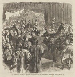 'The Queen's visit to the City: Reception of Her Majesty at the Surrey end of Blackfriars Bridge' (including Queen Victoria; Prince Leopold, Duke of Albany; Princess Beatrice of Battenberg; and John Brown), probably by Sir John Gilbert, published by  Illustrated London News - NPG D48330