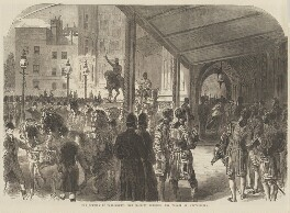 'The opening of Parliament: Her Majesty entering the Palace of Westminster' (Queen Victoria), published by Illustrated London News - NPG D48329