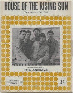 Sheet music cover for 'House of the Rising Sun' by The Animals (John Steel; Dave Rowberry; Chas Chandler; Eric Victor Burdon; Hilton Stewart Paterson Valentine), published by Keith Prowse Music Publishing Co Ltd, after  Unknown photographer - NPG D48334