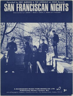 Sheet music cover for 'San Franciscan Nights' by The Animals (Dave Rowberry; Hilton Valentine; Eric Victor Burdon; John Steel; Chas Chandler), published by A. Schroeder Music Publishing Co Ltd, after  Unknown photographer - NPG D48336
