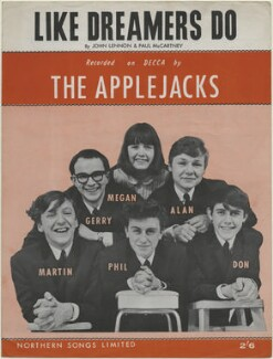 Sheet music cover for 'Like Dreamers Do' by The Applejacks (Martin Baggott; Gerald ('Gerry') Freeman; Megan Davies; Philip ('Phil') Cash; Harry Llewellyn ('Al') Jackson; Donald ('Don') Gould), published by Northern Songs Ltd, after  Unknown photographer - NPG D48337