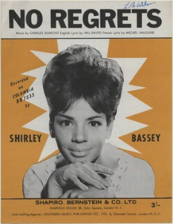 Sheet music cover for 'No Regrets' by Shirley Bassey, published by Shapiro, Bernstein & Co Ltd, after  Unknown photographer - NPG D48338