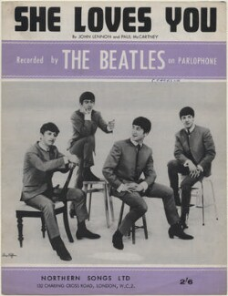 Sheet music cover for 'She Loves You' by The Beatles (Ringo Starr; George Harrison; John Lennon; Paul McCartney), published by Northern Songs Ltd, after  (Dezider) Dezo Hoffmann - NPG D48341