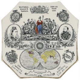 Queen Victoria; Britannia; King Edward VII with six human figures representing imperial subjects and two scenes of imperial expeditions, by Wallis Gimson & Co. - NPG D48623
