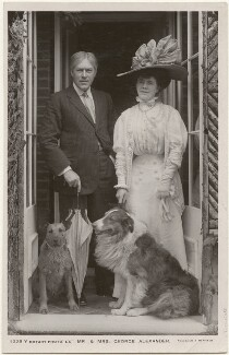 Sir George Alexander (George Samson) and Florence Jane (née Théleur), Lady Alexander, with their dogs Patsy and Pan, by Foulsham & Banfield, published by  Rotary Photographic Co Ltd - NPG x201004