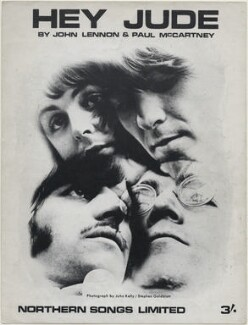 Sheet music cover for 'Hey Jude' by The Beatles (Ringo Starr; Paul McCartney; George Harrison; John Lennon), published by Northern Songs Ltd, after  John Kelly, and after  Stephen Goldblatt - NPG D48350