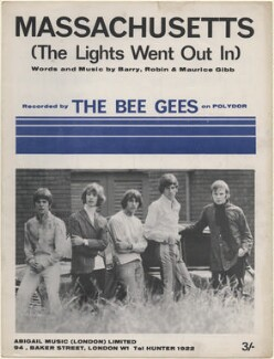 Sheet music cover for 'Massachusetts (The Lights Went Out In)' by The Bee Gees (Vince Melouney; Robin Gibb; Maurice Gibb; Barry Gibb; Colin Petersen), published by Abigail Music Limited, after  Unknown photographer - NPG D48353
