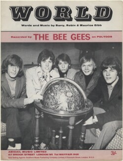 Sheet music cover for 'World' by The Bee Gees (Robin Hugh Gibb; Sir Barry Alan Crompton Gibb; Maurice Gibb; (Frederick) Colin Petersen; Vince Melouney), published by Abigail Music Limited, after  Unknown photographer - NPG D48354