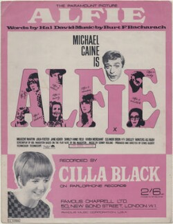 Sheet music cover for 'Alfie' by Cilla Black and the cast of 'Alfie' (Cilla Black (Priscilla White); Shelley Winters; Julia Foster; Millicent Martin; Vivien Merchant; Jane Asher; Sir Michael Caine; Eleanor Bron; Shirley Anne Field), published by Famous Chappell Ltd, after  Unknown photographers - NPG D48361