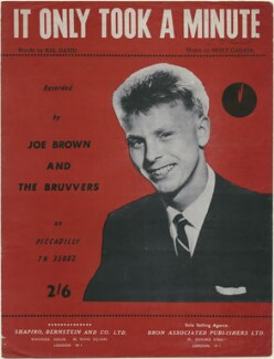 Sheet music cover for 'It Only Took a Minute' by Joe Brown, published by Shapiro, Bernstein & Co Ltd, after  Unknown photographer - NPG D48363