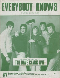 Sheet music cover for 'Everybody Knows' by The Dave Clark Five (Mike Smith; Denis Payton; Lenny Davidson; Rick Huxley; Dave Clark), published by Donna Music Limited, after  Unknown photographer - NPG D48369