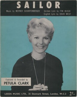 Sheet music cover for 'Sailor' by Petula Clark, published by Leeds Music Ltd, after  Unknown photographer - NPG D48371