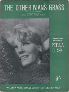 Sheet music cover for 'The Other Man's Grass (Is Always Greener)' by Petula Clark, published by Welbeck Music Ltd, after  Unknown photographer - NPG D48375