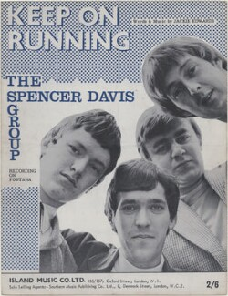 Sheet music cover for 'Keep on Running' by The Spencer Davis Group (Steve Winwood; Muff Winwood; Pete York; Spencer Davis), published by Island Music Co Ltd, after  Unknown photographer - NPG D48378