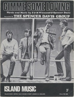 Sheet music cover for 'Gimme Some Loving' by The Spencer Davis Group (Muff Winwood; Pete York; Spencer Davis; Steve Winwood), published by Island Music Co Ltd, after  Unknown photographer - NPG D48379