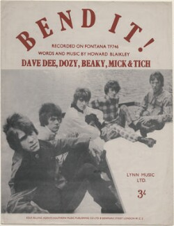 Sheet music cover for 'Bend It!' by Dave Dee, Dozy, Beaky, Mick & Tich (David ('Dave Dee') Harman; Trevor ('Dozy') Ward-Davies; Ian ('Tich') Amey; Michael ('Mick') Wilson; John ('Beaky') Dymond), published by Lynn Music Limited, after  Unknown photographer - NPG D48380