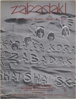 Sheet music cover for 'Zabadak!' by Dave Dee, Dozy, Beaky, Mick & Tich (David ('Dave Dee') Harman; Trevor ('Dozy') Ward-Davies; John ('Beaky') Dymond; Michael ('Mick') Wilson; Ian ('Tich') Amey), published by Lynn Music Limited, after  Unknown photographer - NPG D48381