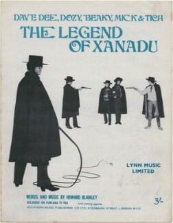 Sheet music cover for 'The Legend of Xanadu' by Dave Dee, Dozy, Beaky, Mick & Tich (David ('Dave Dee') Harman; Trevor ('Dozy') Ward-Davies; John ('Beaky') Dymond; Michael ('Mick') Wilson; Ian ('Tich') Amey), published by Lynn Music Limited, after  Unknown photographer - NPG D48382