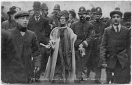 'Mrs Pankhurst arrested in Victoria Street, February 13 1908', published by The Photochrom Co Ltd - NPG x200694