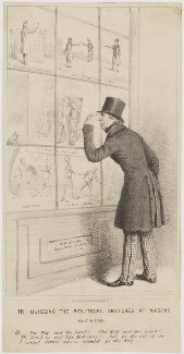 Henry Brougham, 1st Baron Brougham and Vaux ('HB, Quizzing the Political Sketches at Mason's'), printed by L.M. Lefevre - NPG D48638
