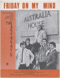 Sheet music cover for 'Friday On My Mind' by The Easybeats, published by United Artists Music Ltd, after  Unknown photographer - NPG D48389