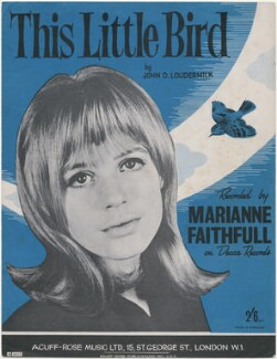 Sheet music cover for 'This Little Bird' by Marianne Faithfull, published by Acuff-Rose Music Ltd, after  Unknown photographer - NPG D48395