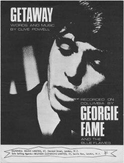 Sheet music cover for 'Getaway' by Georgie Fame (Clive Powell), published by Gunnell Music Limited, after  Unknown photographer - NPG D48397