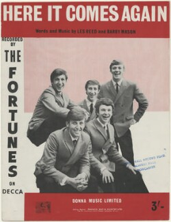 Sheet music cover for 'Here it Comes Again' by The Fortunes (Barry Pritchard; Glen Dale (Richard Garforth); Andrew ('Andy') Brown; Rod Allen (Rodney Bainbridge); David Carr), published by Donna Music Limited, after  Unknown photographer - NPG D48403