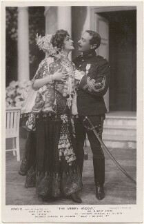 Lily Elsie as 'Sonia' and Robert Evett as 'Vicomte Camille de Jolidon' in 'The Merry Widow', by Foulsham & Banfield, published by  Rotary Photographic Co Ltd - NPG x201052