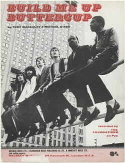 Sheet music cover for 'Build Me Up Buttercup' by The Foundations (Clem Curtis (Curtis Clements); Mike Elliott; Tim Harris; Eric Allandale (Eric Allandale Dubuisson); Alan Warner; Peter MacBeth; Tony Gomez), published by Welbeck Music Ltd, after  Unknown photographer - NPG D48405