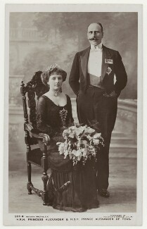 Princess Alice, Countess of Athlone; Prince Alexander Cambridge, Earl of Athlone, by Foulsham & Banfield, published by  Rotary Photographic Co Ltd - NPG x201219