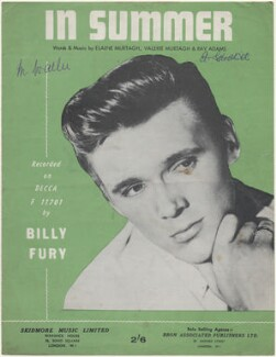 Sheet music cover for 'In Summer' by Billy Fury (Ronald Wycherly), published by Skidmore Music Limited, after  Unknown photographer - NPG D48409