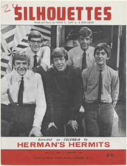Sheet music cover for 'Silhouettes' by Herman's Hermits (Karl Anthony Green; Derek ('Lek') Leckenby; Peter Noone; (Jan) Barry Whitwam; Keith Hopwood), published by Francis, Day & Hunter, after  Unknown photographer - NPG D48413