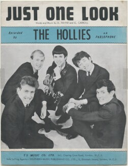 Sheet music cover for 'Just One Look' by The Hollies (Tony Hicks; Robert Hartley ('Bobby') Elliott; Eric Haydock; Graham Nash; Allan Clarke), published by T.S. Music Company Limited, after  Bruce Fleming - NPG D48415