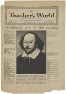 William Shakespeare, published by The Teacher's World, after a portrait associated with  John Taylor - NPG D48663