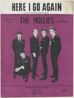 Sheet music cover for 'Here I Go Again' by The Hollies (Eric Haydock; Allan Clarke; Robert Hartley ('Bobby') Elliott; Graham Nash; Tony Hicks), published by Belinda (London) Limited, after  Unknown photographer - NPG D48416