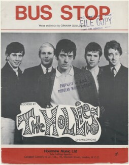 Sheet music cover for 'Bus Stop' by The Hollies (Graham Nash; Robert Hartley ('Bobby') Elliott; Allan Clarke; Eric Haydock; Tony Hicks), published by Hournew Music Ltd, after  Unknown photographer - NPG D48419
