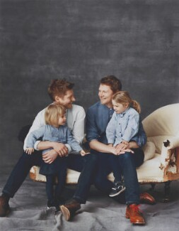 Christopher Bailey and Simon Woods with their daughters Nell and Iris, by Paul Wetherell - NPG x200720