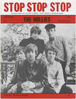 Sheet music cover for 'Stop Stop Stop' by The Hollies (Graham Nash; Eric Haydock; Tony Hicks; Allan Clarke; Robert Hartley ('Bobby') Elliott), published by Gralto Music Limited, after  Unknown photographer - NPG D48420
