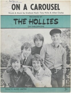 Sheet music cover for 'On a Carousel' by The Hollies (Eric Haydock; Graham Nash; Allan Clarke; Tony Hicks; Robert Hartley ('Bobby') Elliott), published by Gralto Music Limited, after  Unknown photographer - NPG D48422