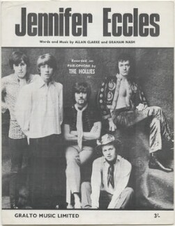 Sheet music cover for 'Jennifer Eccles' by The Hollies (Graham Nash; Tony Hicks; Eric Haydock; Robert Hartley ('Bobby') Elliott; Allan Clarke), published by Gralto Music Limited, after  Unknown photographer - NPG D48423