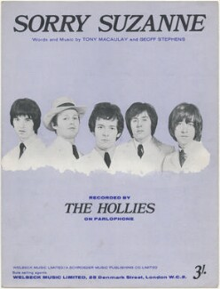 Sheet music cover for 'Sorry Suzanne' by The Hollies (Graham Nash; Robert Hartley ('Bobby') Elliott; Allan Clarke; Eric Haydock; Tony Hicks), published by Welbeck Music Ltd, published by  A. Schroeder Music Publishing Co Ltd, after  Unknown photographer - NPG D48425