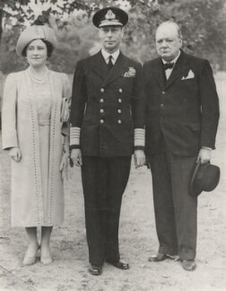 Queen Elizabeth, the Queen Mother; King George VI; Winston Churchill, by Unknown photographer - NPG x194397