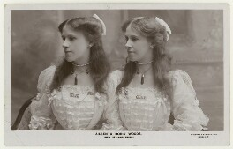 Aileen and Doris Woods '(New Zealand Twins)', by Foulsham & Banfield, published by  Rotary Photographic Co Ltd - NPG x201253
