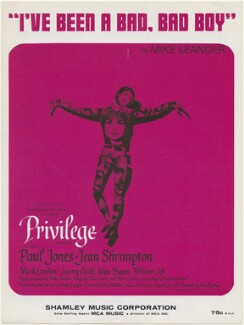 Sheet music cover for 'Privilege' (Paul Jones; Jean Shrimpton), published by Shamley Music Corporation, after  Unknown artist - NPG D48435