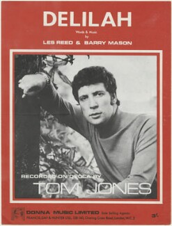 Sheet music cover for 'Delilah' by Sir Tom Jones, published by Donna Music Limited, after  Unknown photographer - NPG D48439