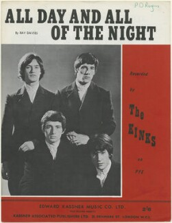 Sheet music cover for 'All Day and All of the Night' by The Kinks (Dave Davies; Pete Quaife; Mick Avory; Ray Davies), published by Edward Kassner Music Company Limited, after  Unknown photographer - NPG D48448