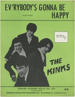 Sheet music cover for 'Ev'rybody's Gonna be Happy' by The Kinks (Pete Quaife; Dave Davies; Ray Davies; Mick Avory), published by Edward Kassner Music Company Limited, after  Unknown photographer - NPG D48451