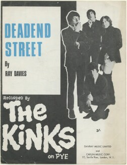 Sheet music cover for 'Deadend Street' by The Kinks (Pete Quaife; Mick Avory; Ray Davies; Dave Davies), published by Davray Music Limited, published by  Carlin Music Corporation, after  Unknown photographer - NPG D48452