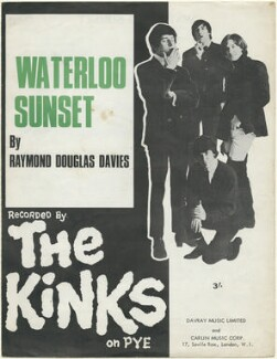 Sheet music cover for 'Waterloo Sunset' by The Kinks (Pete Quaife; Mick Avory; Ray Davies; Dave Davies), published by Davray Music Limited, published by  Carlin Music Corporation, after  Unknown photographer - NPG D48453